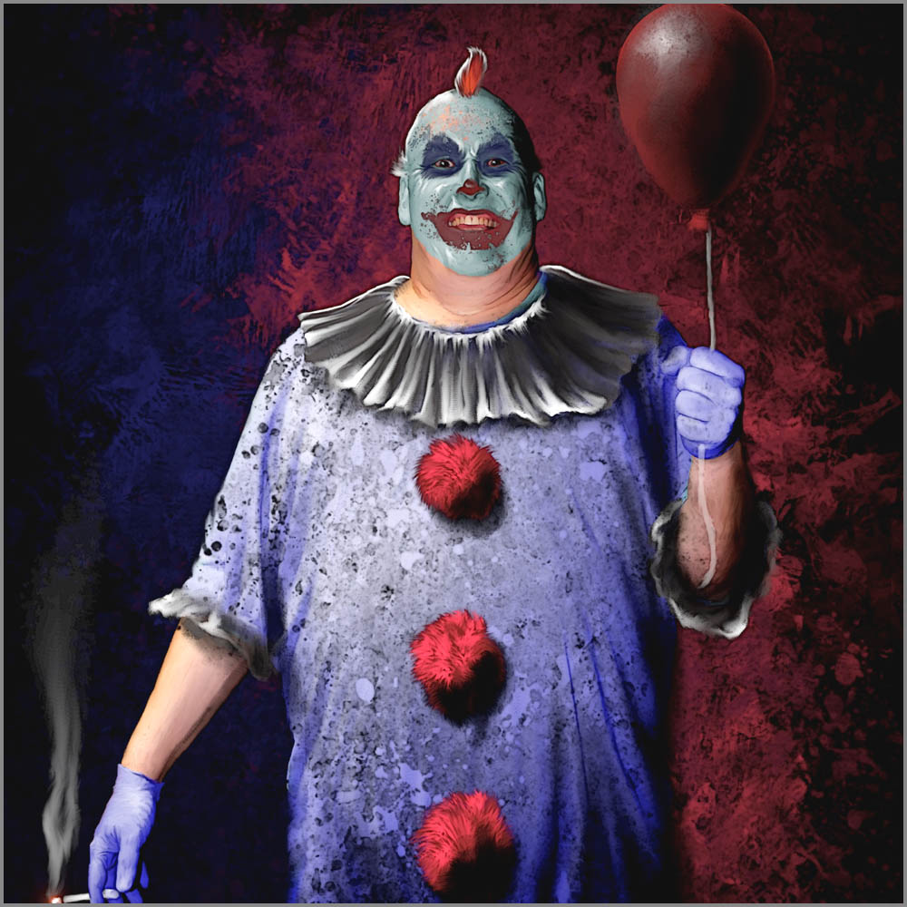 Creepy Clown with Red Balloon